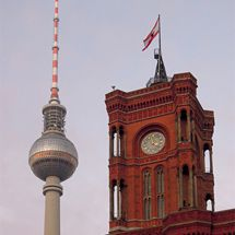 red city hall and tv-tower
