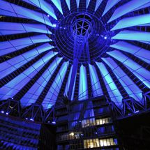 Blue illuminated dome of the Sony Center