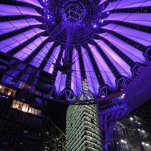 Purple illuminated dome of the Sony Center