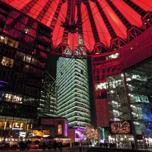 Sony Center with red illuminated dome