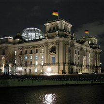 Reichstag building at night