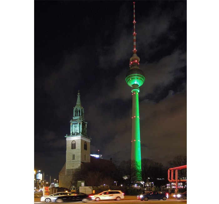 St. Mary's church and green TV-Tower - photo cult berlin